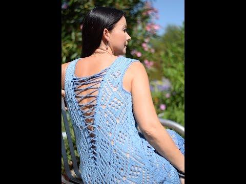 Платье вязаное пляжное спицами