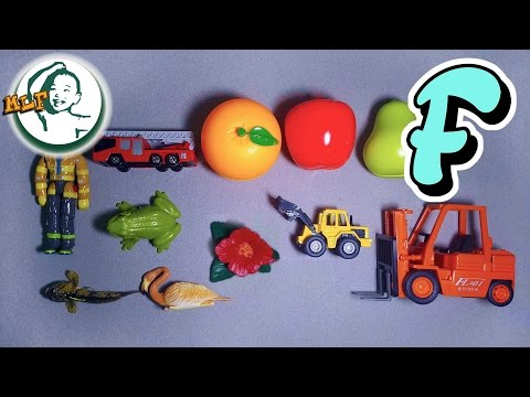 Words that start with F | Learn alphabet F with common toys! (updated version)