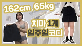 162cm 65kg 통통녀의 치마1개로 일주일코디하기!…