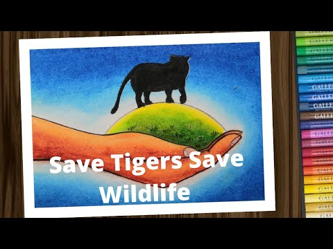 International Tiger day drawing / Save Tiger save Wildlife poster drawing step by step