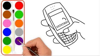 Coloring for Kids with Smartphone-How to draw a phone for kids-Mobile Phone for Kids Coloring Page