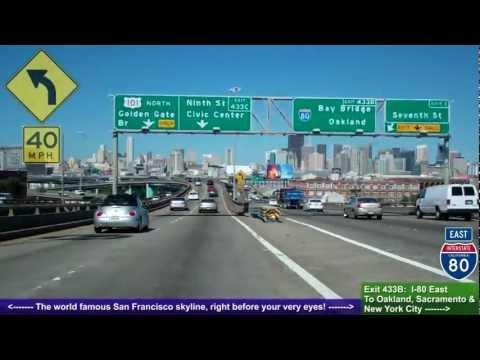 US 101 North CA, Driving Road Trip into San Francisco, San Mateo to SF