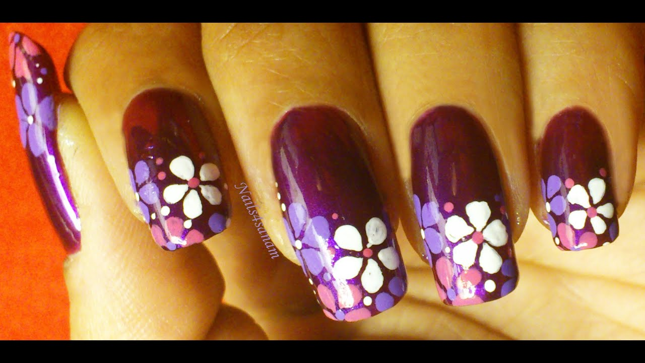 Spring flowers Nail Art - YouTube