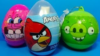 ANGRY BIRDS surprise egg Nickelodeon SpongeBob surprise egg Angry Birds egg surprise spray!