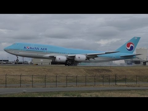 Korean Air 747-8B5 Intercontinental [HL7630] Landing at Paine Field ᴴᴰ