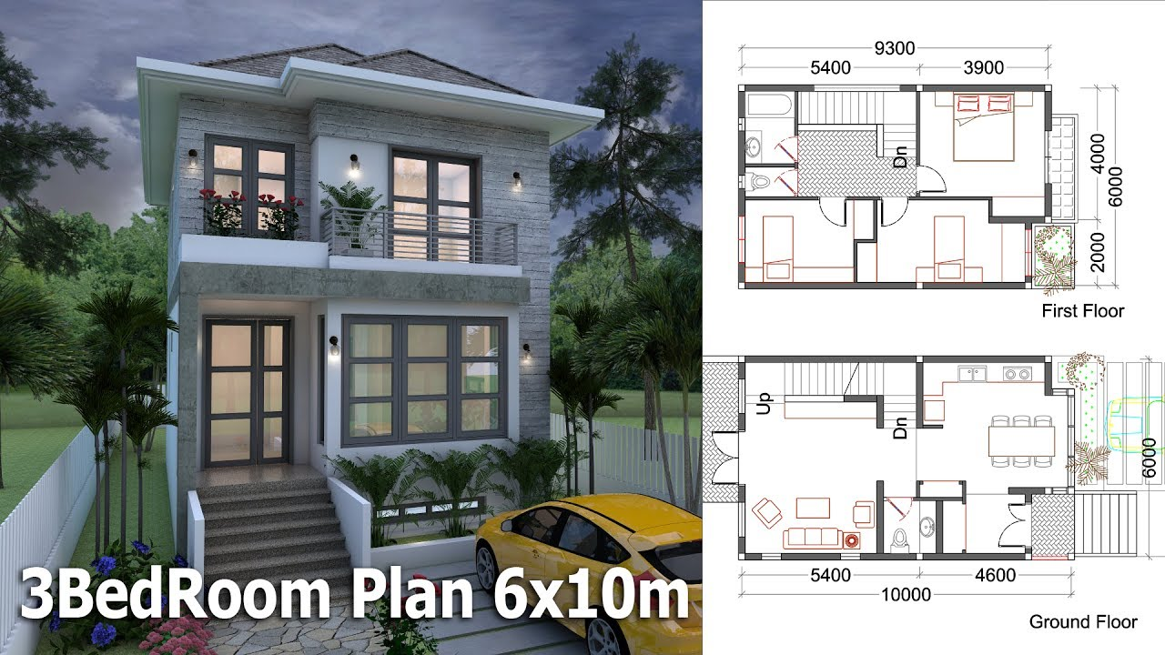 SketchUp Small Home Design Plan 6x10m With 3 Bedrooms