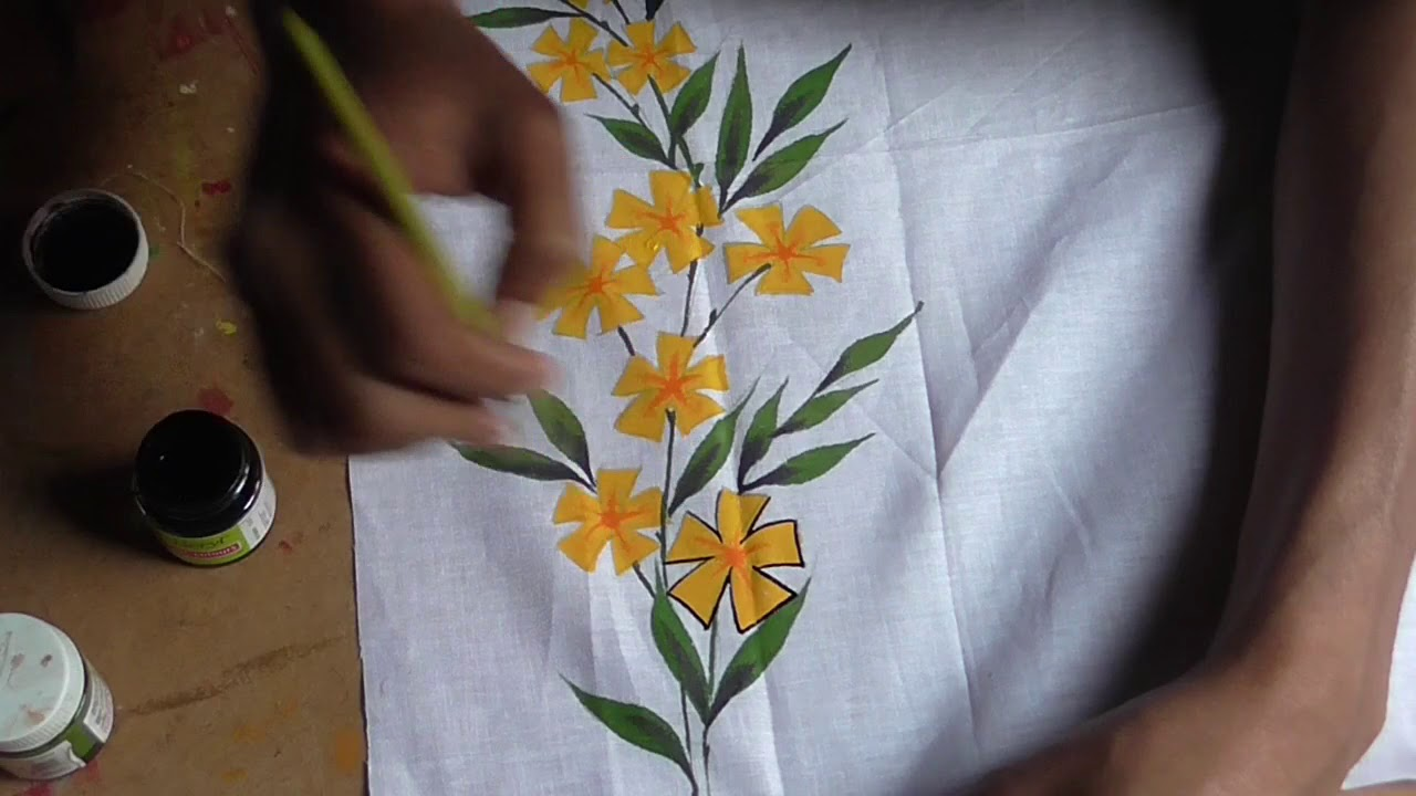 Floral Design Modern Design Fabric Paint Hand Painting Art