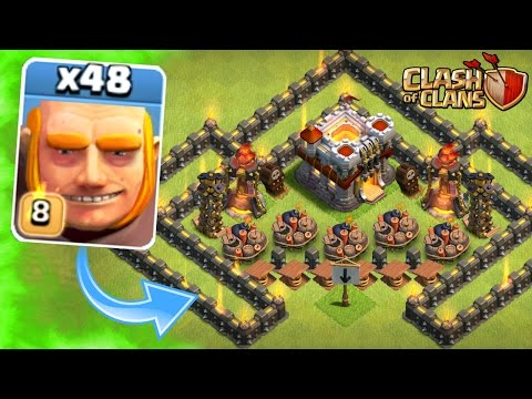 Clash Of Clans - NEW MAX LEVEL 8 GIANTS vs TROLL BASE!! - Post Update Game Play JULY 2016!