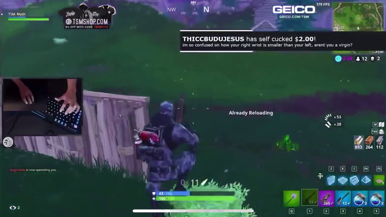 TSM Myth Fortnite builds 1x1 with Keyboard & Mouse Cam