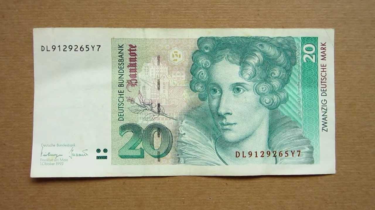 20 Deutsche Mark Banknote Twenty 1993 Obverse And Reverse You