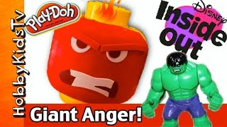 Giant INSIDE OUT ANGER Lego Head Play-Doh Makeover