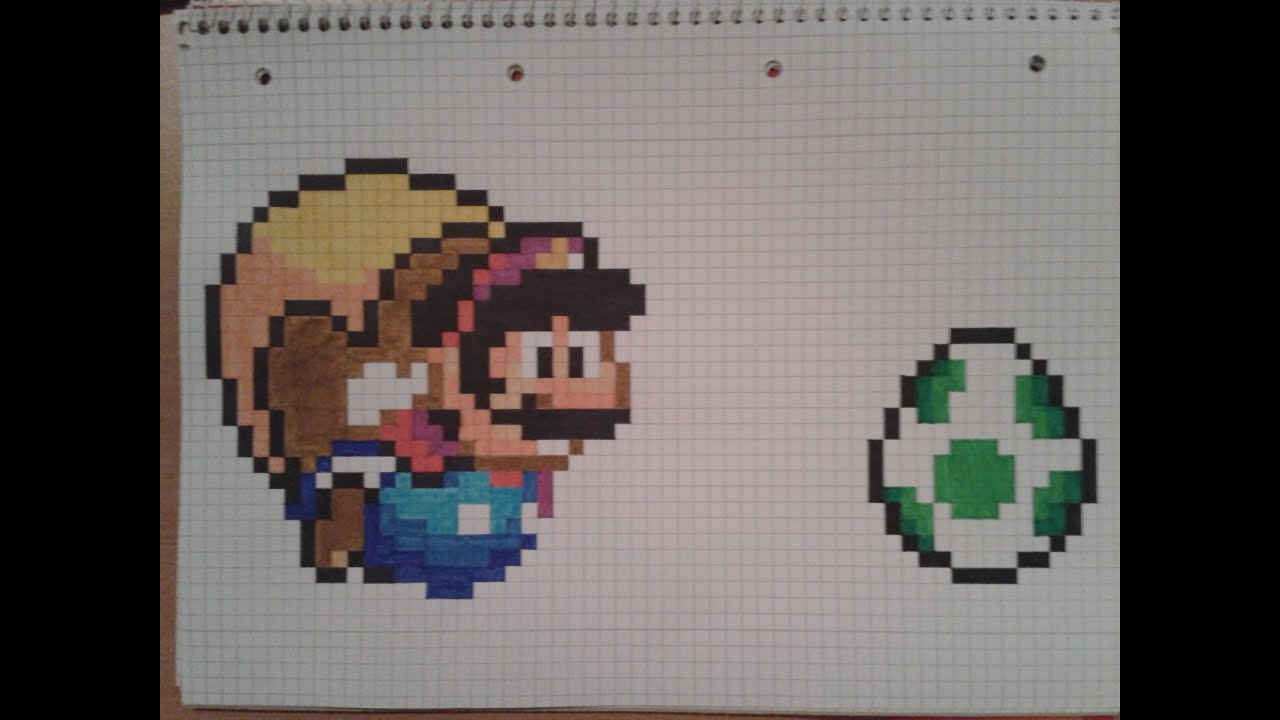 How to: draw pixel flying Cape Mario and a green Yoshi egg - YouTube