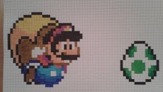 How to: draw pixel flying Cape Mario and a green Yoshi egg