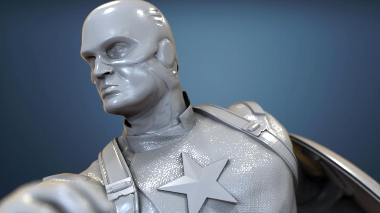 avengers scene captain america figurine for 3d printing