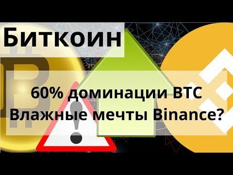 Биткоин 60% доминации BTC Влажные мечты Binance? Опционы на биткоин скоро на СМЕ?