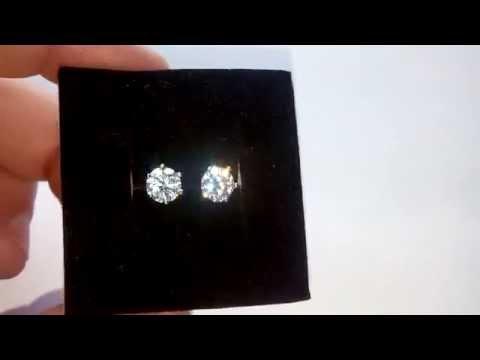 Серьги с бриллиантами в 1 карат
