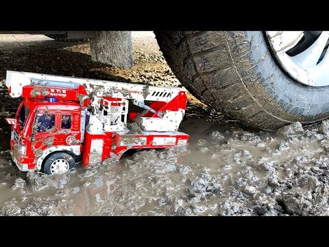 Crazy Thomas Having Fun In The Mud With Fire Truck And Car