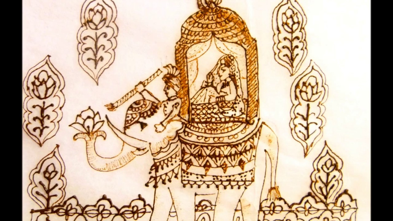 Mehndi Art Elephant Holding A Lotus Flower Wedding Procession