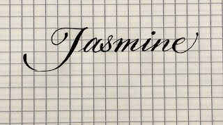See, how to write the name Jasmine in calligraphic handwriting in English.