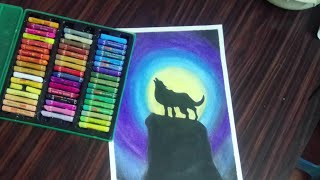 Drawing a moonlight scenery with oil pastels for beginners