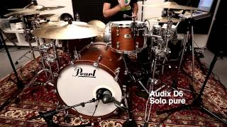 Audix D6 vs. Shure Beta 52 Bassdrum Mic Shootout on Pearl Reference Pure