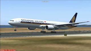 [FS2004/FS9] Singapore Airlines Boeing 777-312 landing at Changi International Airport, Singaore