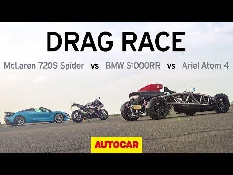 Drag Race: 2019 BMW S1000RR Vs McLaren 720S Vs Ariel Atom 4 | Autocar