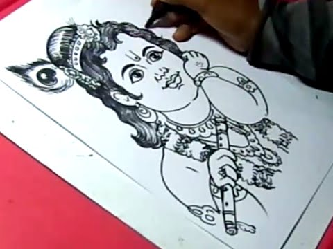How to draw lord little krishna drawing for kids