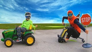 Pretend Play with Tractor vs Go Kart | Timko and Papa Ride On Cars
