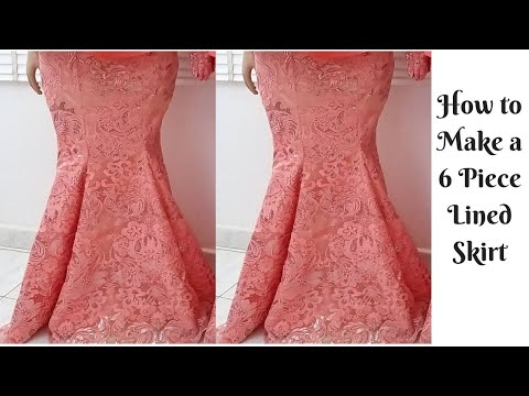 How to Cut 6 Piece Skirt (Sew with lining and elastic waist band) Simple & Detailed Mermaid Skirt thumbnail