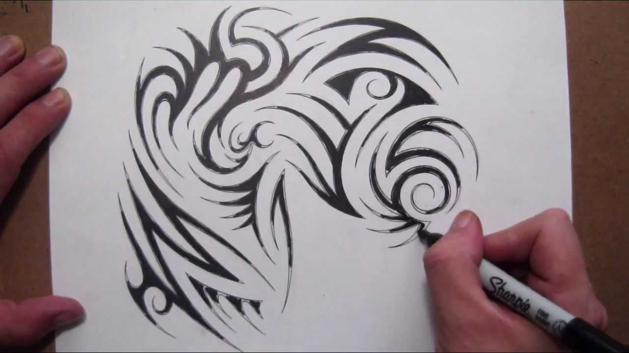 Line Art Tattoo : Drawing a tribal half sleeve and chest piece tattoo design youtube