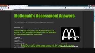 McDonalds Assessment Answers