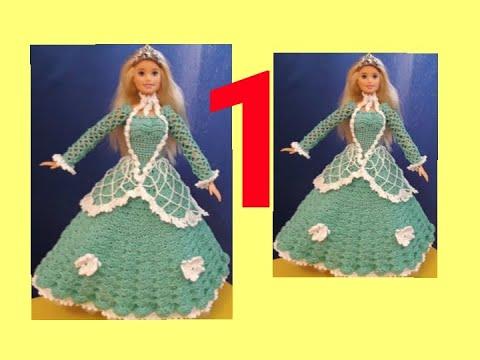 Платье для куклы крючком бальное платье для барби