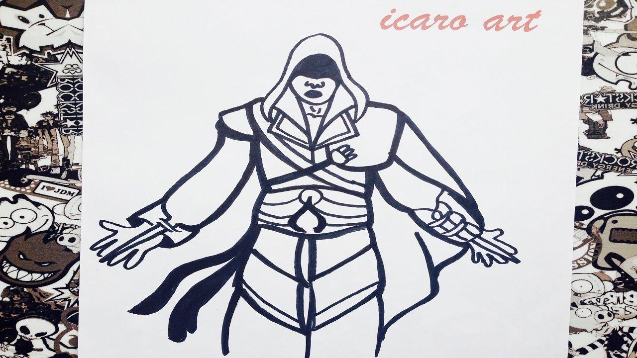 Como dibujar a assassins creed  how to draw assassins creed  YouTube