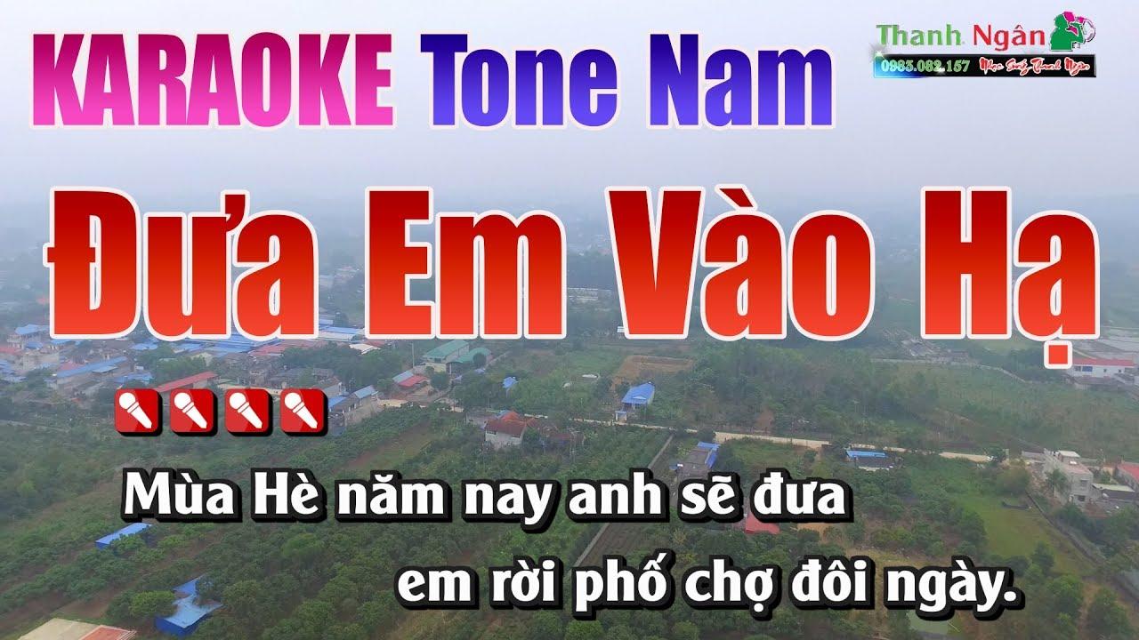 Đưa Em Vào Hạ Karaoke Tone Nam   Nhạc Sống Thanh Ngân