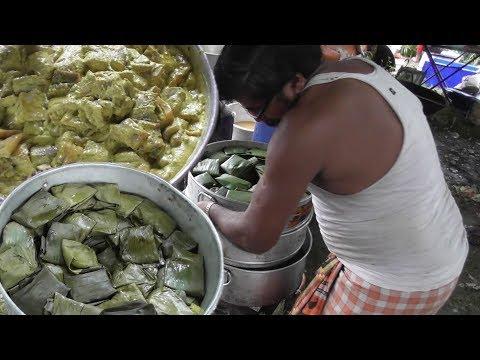 Indian Street Food at Marriage Ceremony - Bhetki Paturi (Barramundi Fish) Preparation   Bengali Food
