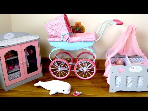 baby-annabell-carriage-pram-baby-dolls-bedroom-morning-routine-going-out-in-pram