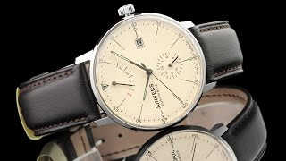 Junkers 6060-5 Bauhaus 40mm Automatic Leather Strap Watch with Power Reserve Indicator