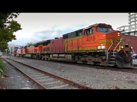 Dash Of The 9's!  SB Intermodal Train, Seattle 4K