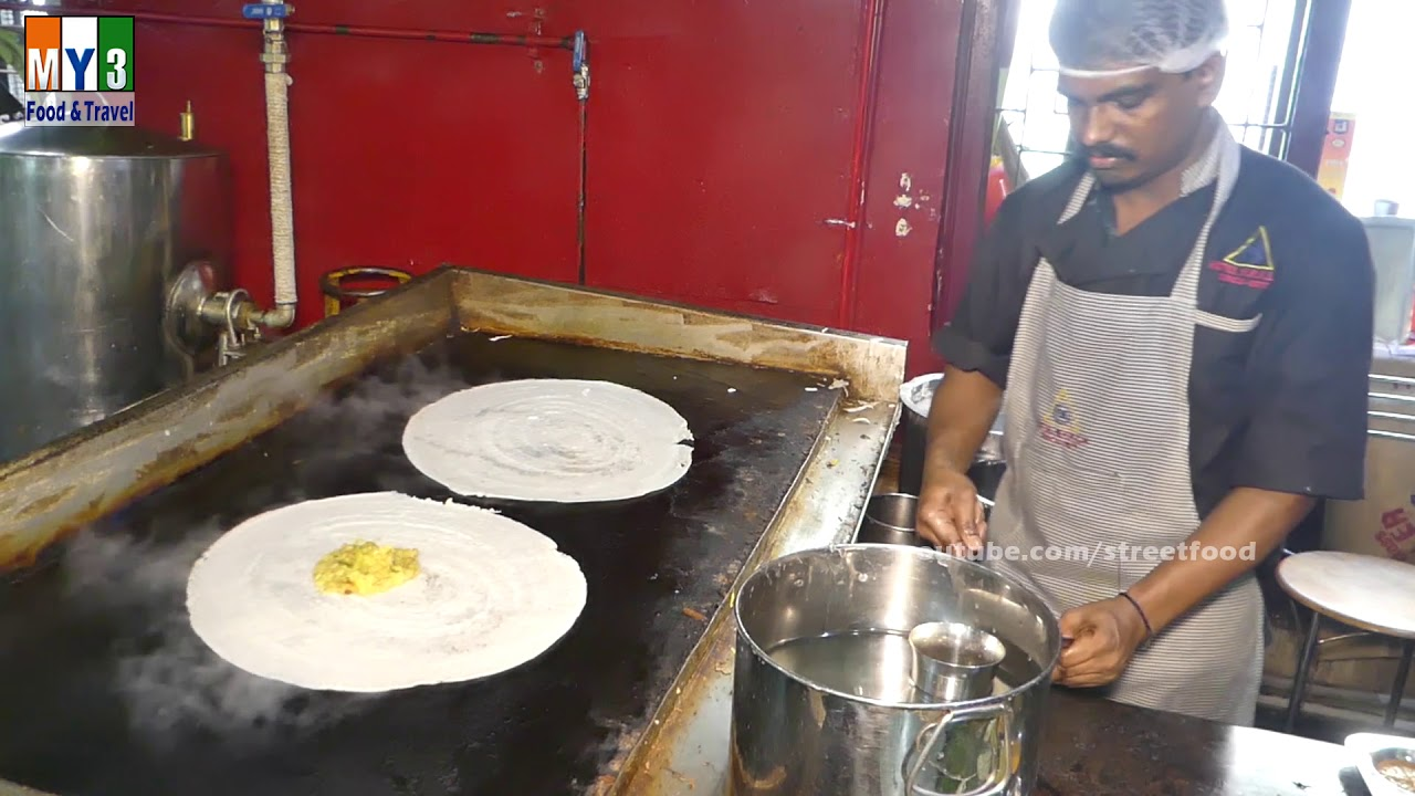 Indian Crepe Stuffed With Potato Curry  - Masala Dosa - Street Food