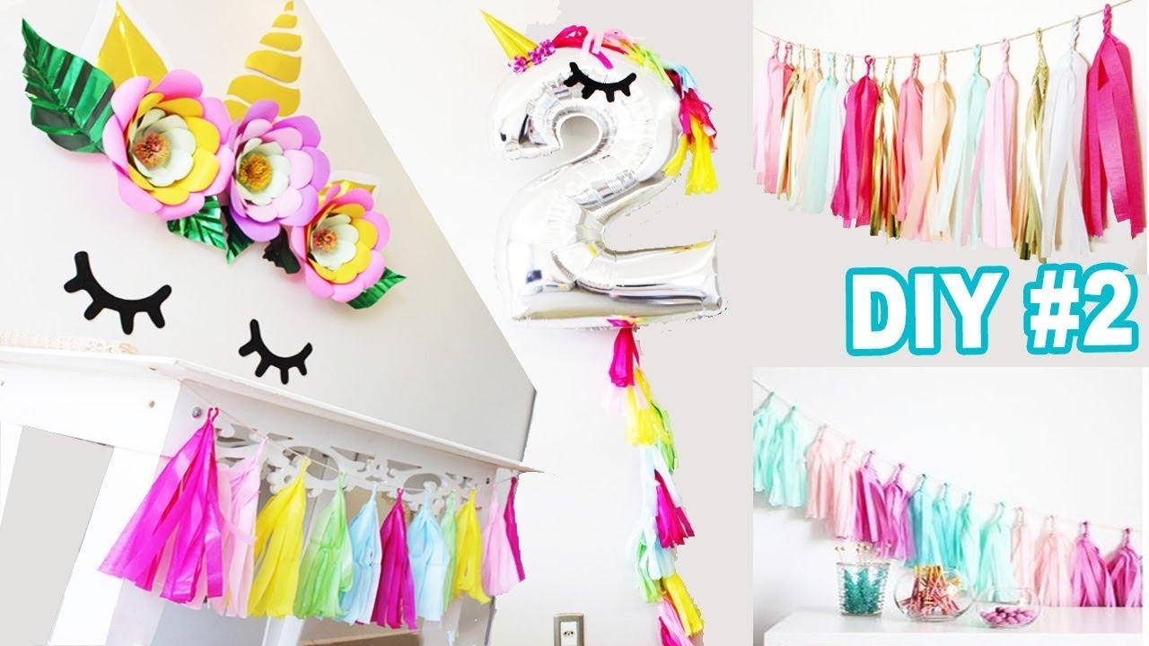 DIY FESTA UNICÓRNIO #2 | Tassel varal de papel + Balão de unicórnio | Decoração #1