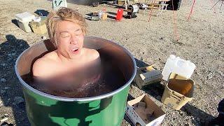 淳、熱すぎるドラム缶風呂に挑戦した結果..。