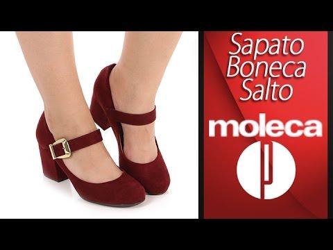 cb56d06e05 Sapato Boneca Salto Feminino Moleca - 6030459617 - YouTube