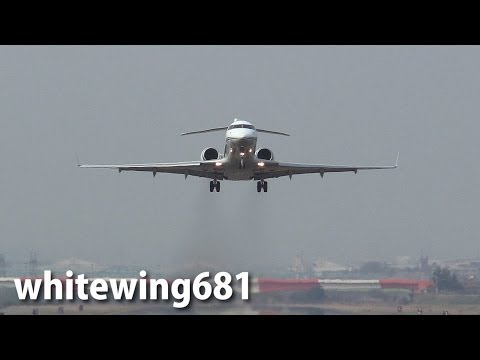 [Localizer Flight Inspection] JCAB Bombardier BD-700 JA006G at TOYAMA Airport 富山空港 2014.4.16