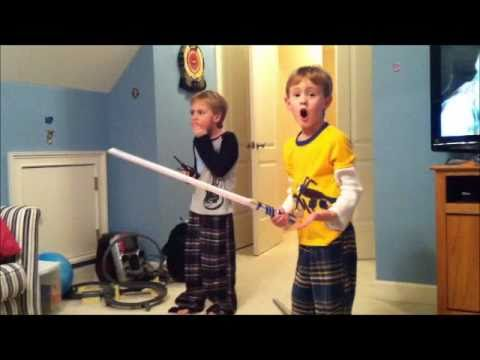 Two Boys Star Wars Fighting - One gets hit in the face...