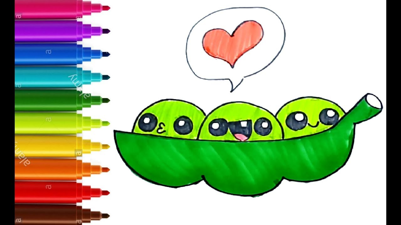 HOW TO DRAW AND COLOR CUTE BEANS FOR KIDS | HEALTHY FOOD ...