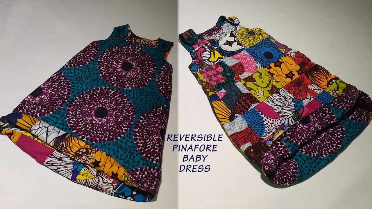Download REVERSIBLE PINAFORE ALINE BABY DRESS WITH ANKARA PRINT AND LEFTOVER FABRICS