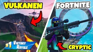 LANDING in the VOLCANO in FORTNITE * competing in Arena * BUYS CRYPTIC SKINNET