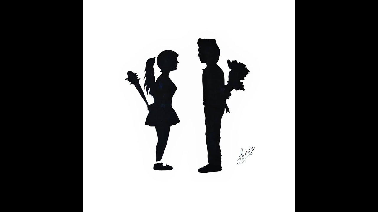 c92af580edb3d Stencil Art - Boy and girl stencil art - Art Maker Akshay - YouTube