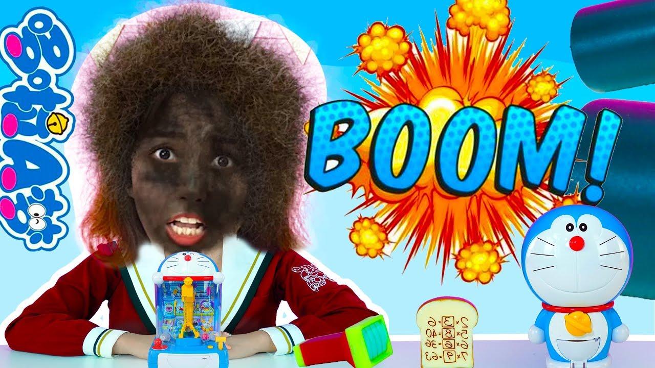 哆啦A夢有炸彈!晶晶姐姐怎麼變成爆炸頭啦?過家家娃娃機玩具 - YouTube